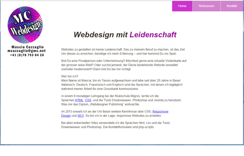 Website www.mc-webdesign.ch